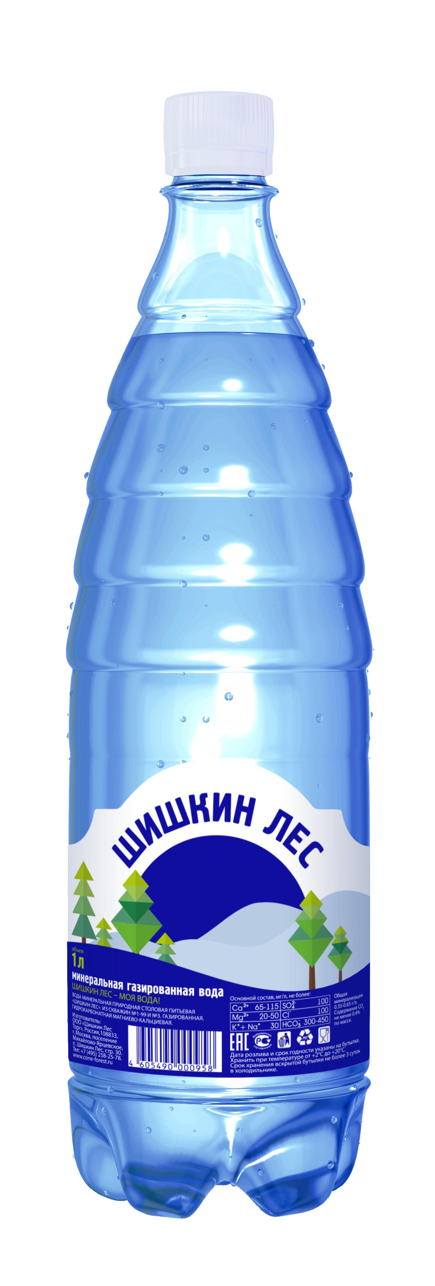 Вода минеральная газированная 1л Шишкин Лес