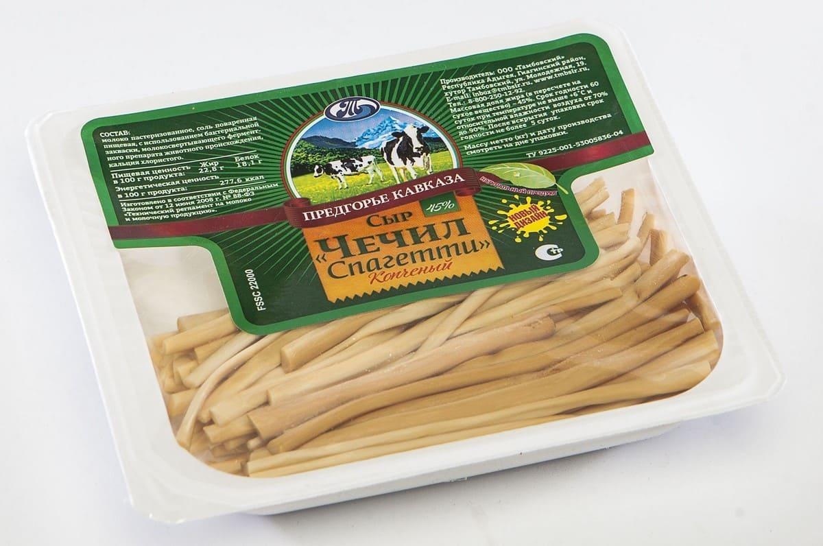 Предгорье кавказа Сыр Чечил-спагетти копченый 45% Предгорье кавказа сыр рассольный красногвардейские чечил спагетти 40% 120 г