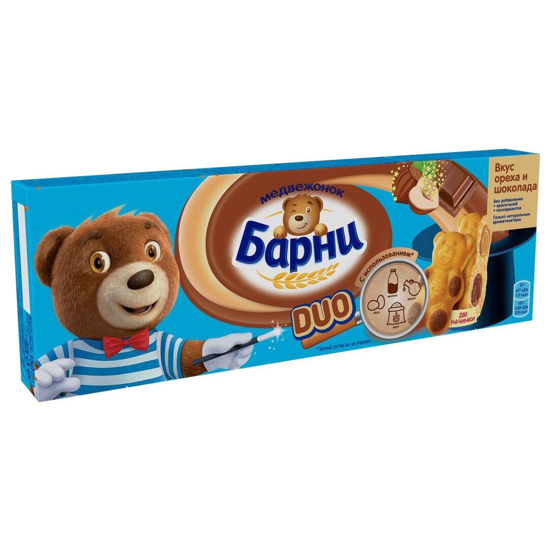 Пирожное Барни Медвеж. бискв. с нач. шок/ореха 150г Барни