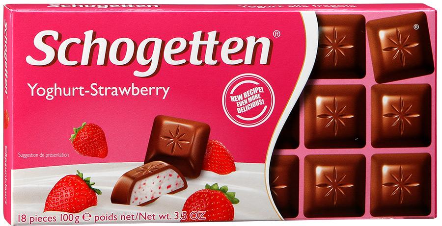 Шоколад молочный с клубничным йогуртом  Schogetten