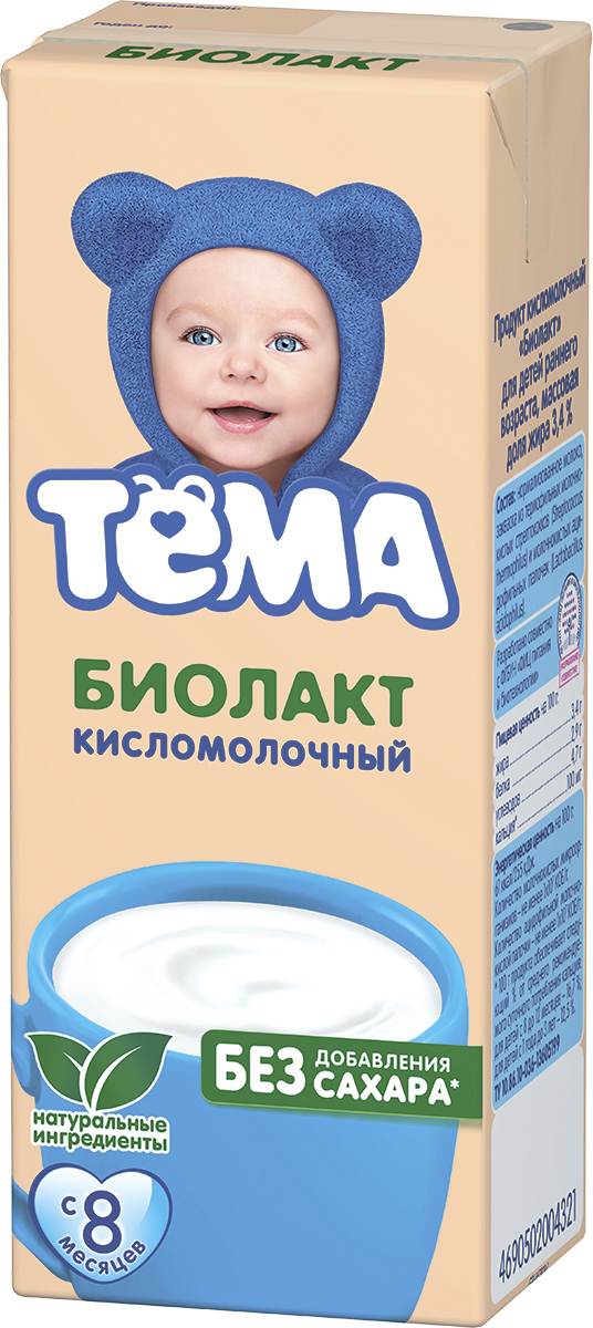 Фото - Тема БЗМЖ Биолакт детский без сахара 3.4% Тема биолакт кисломолочный фрутоняня детский сладкий 3 2