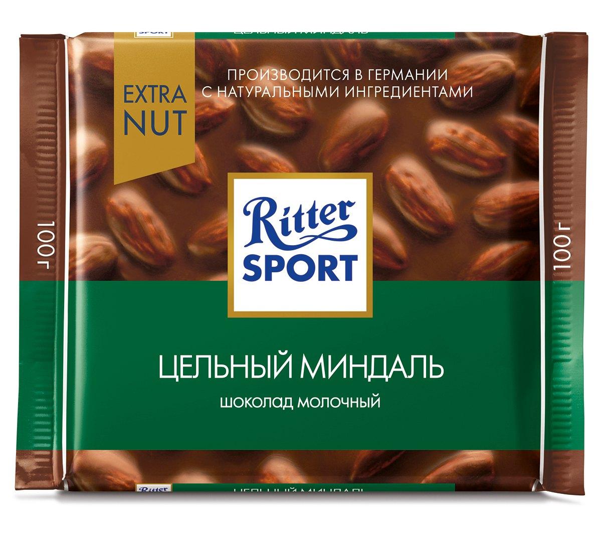 Шоколад молочный с цельным миндалем Extra Ritter Sport