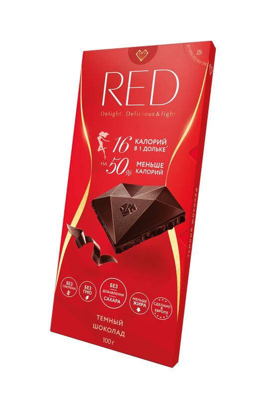 Red Шоколад темный классический без сахара на 50% меньше калорий 100 г RED 0 pr на 100