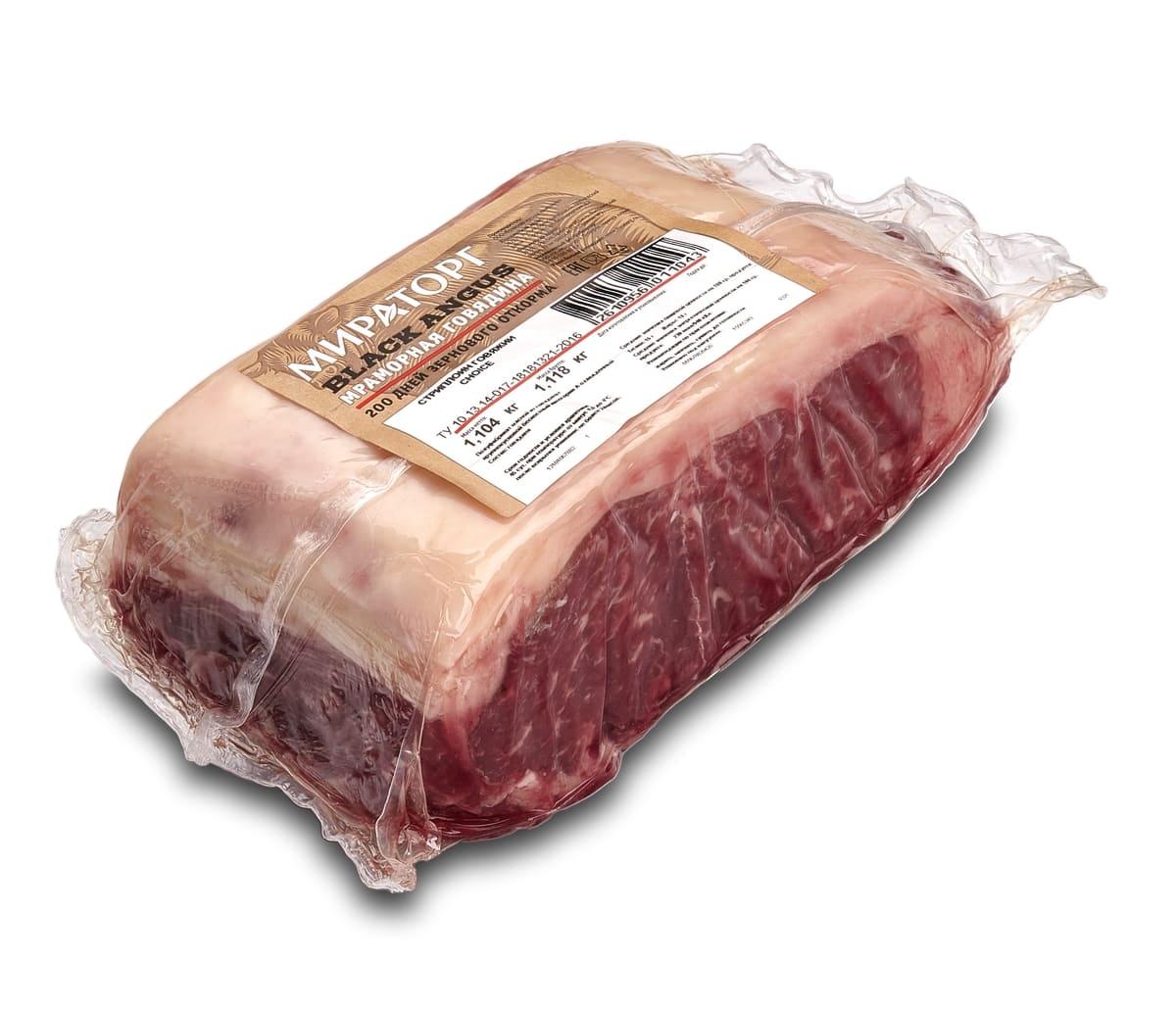 Кусок говяжий Стриплойн Choice вес Black Angus Мираторг ~ 1.1 кг
