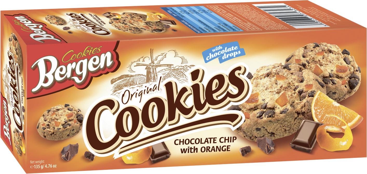 Фото - БЕЗ БРЭНДА Печенье с кусочками шоколада и апельсина Bergen печенье bergen original cookies