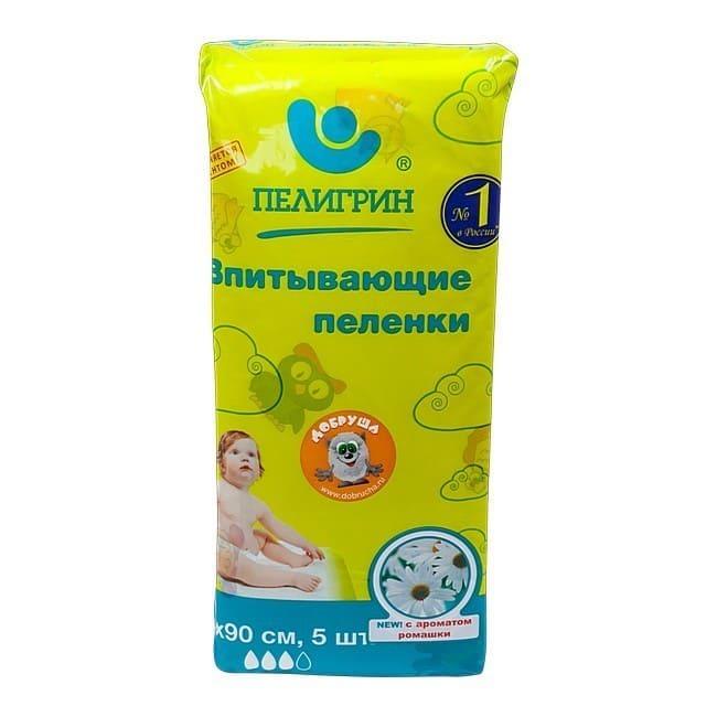 Пеленки впитывающие c ароматом ромашки 60х90см 5 шт Пелигрин.