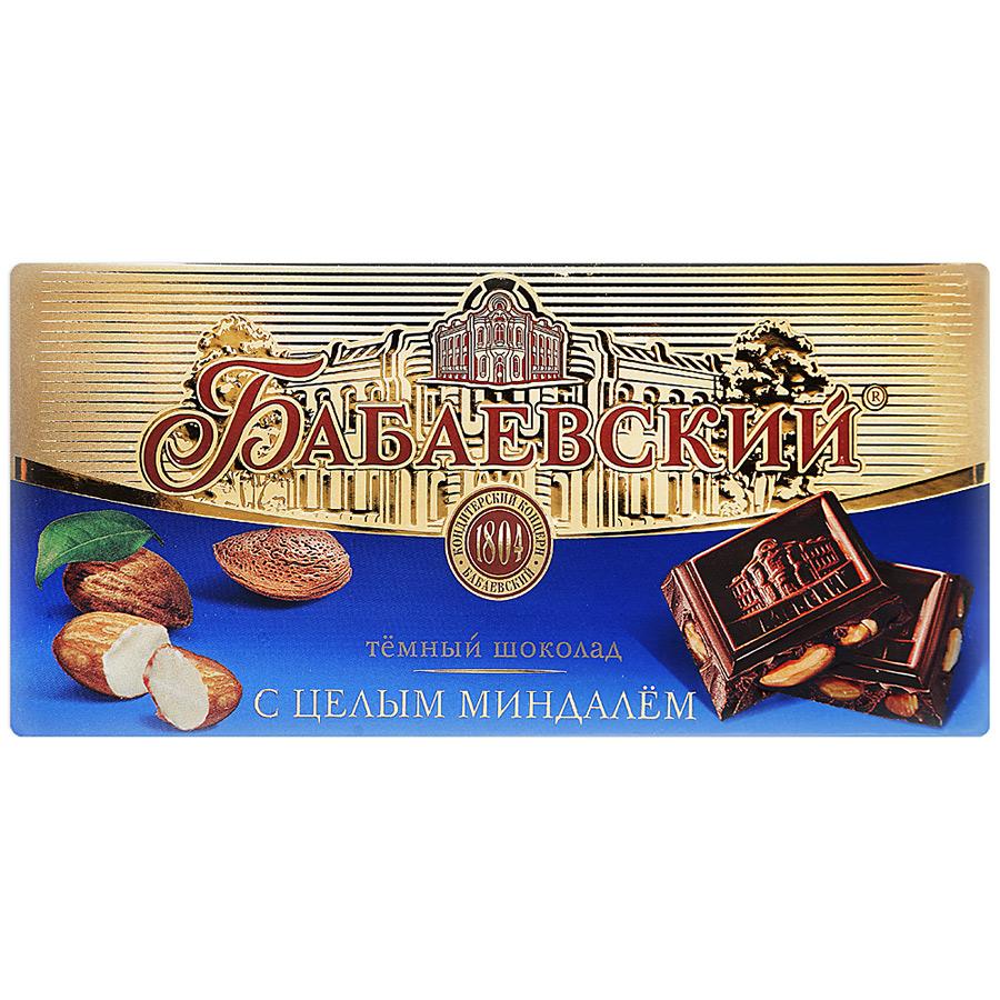 Бабаевский Шоколад горький с целым миндалем Бабаевский шоколад горький вдохновение элитный с миндалем 100 г