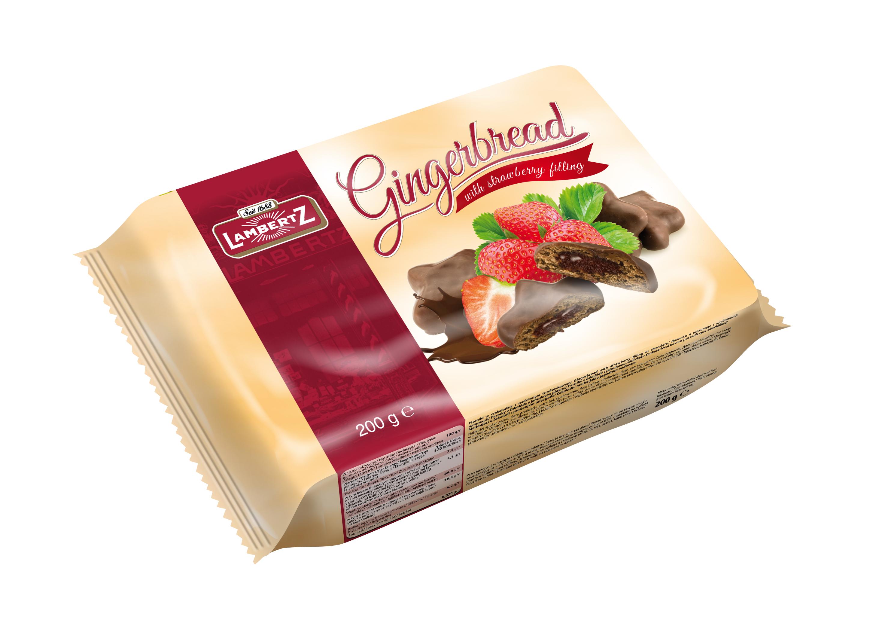 Пряники c клубничной начинкой в шоколаде Lambertz