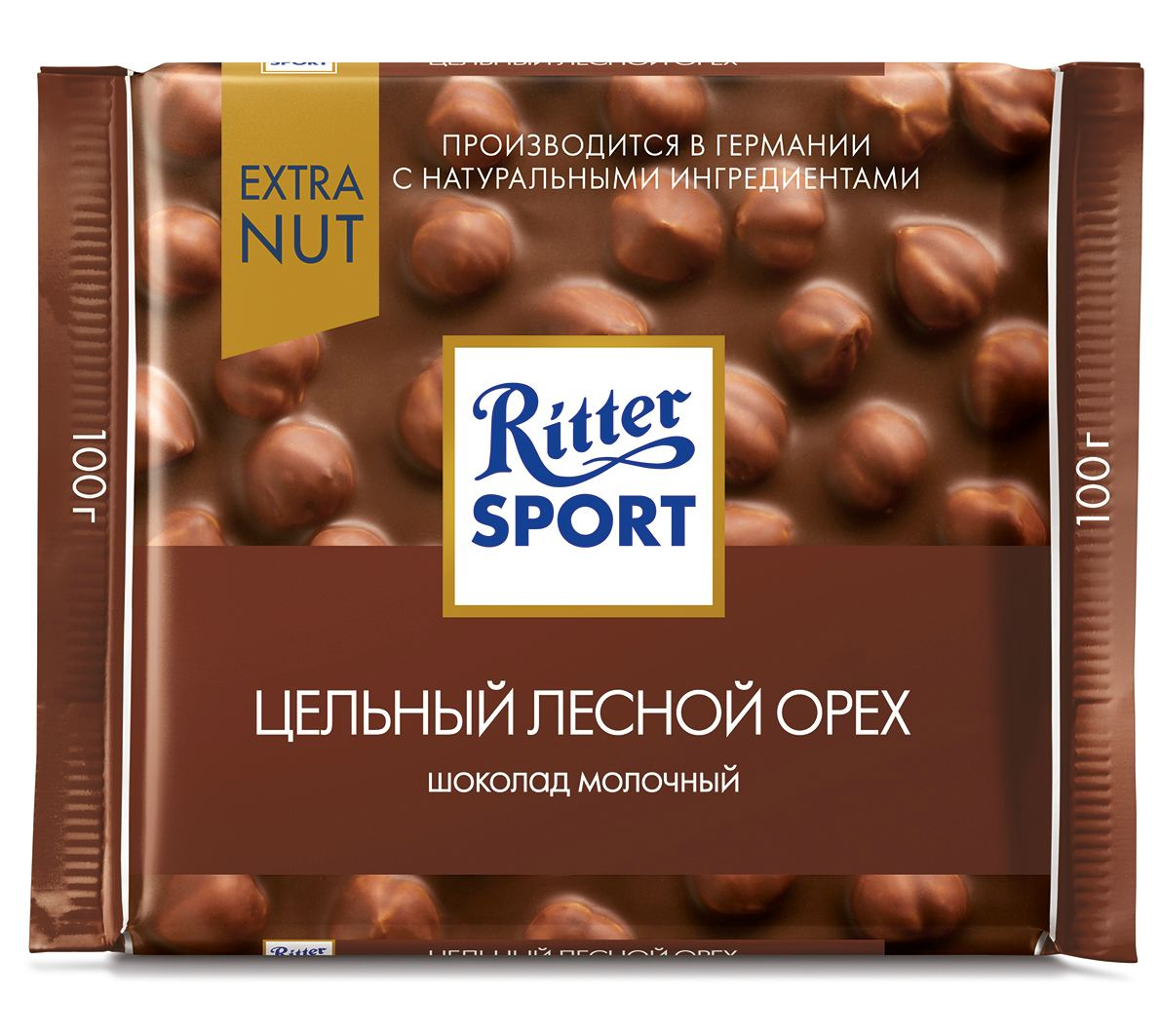 Шоколад молочный с цельным лесным орехом Extra Ritter Sport
