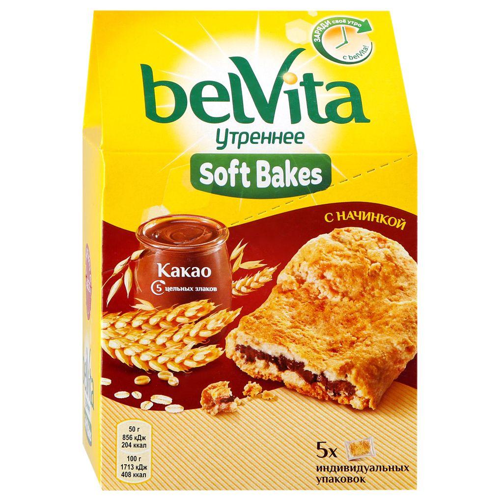 Печенье Софт Бэйкс с цельнозерновыми злаками и с начинкой с какао250uh  Belvita