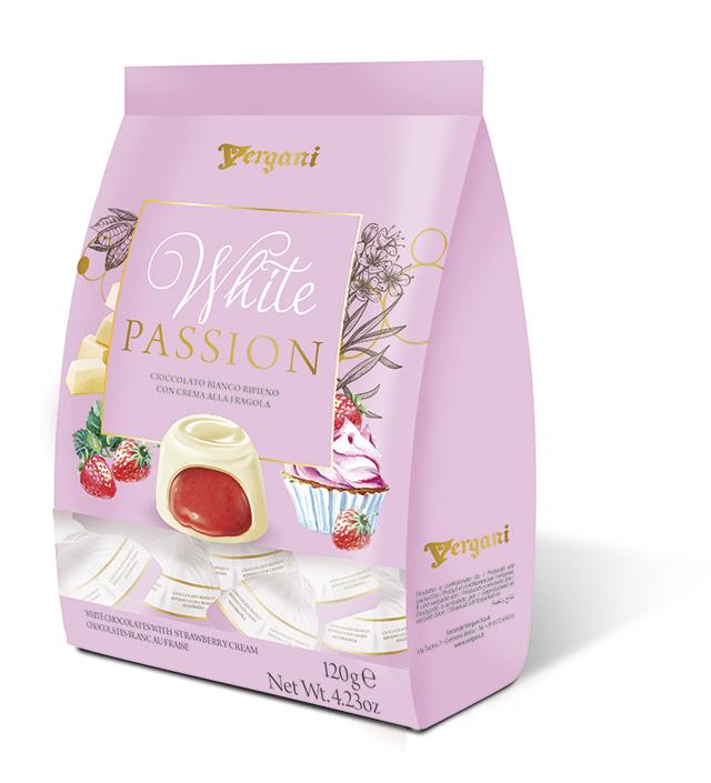 Конфеты из белого шоколада с клубничной начинкой Secondo Vergani Spa
