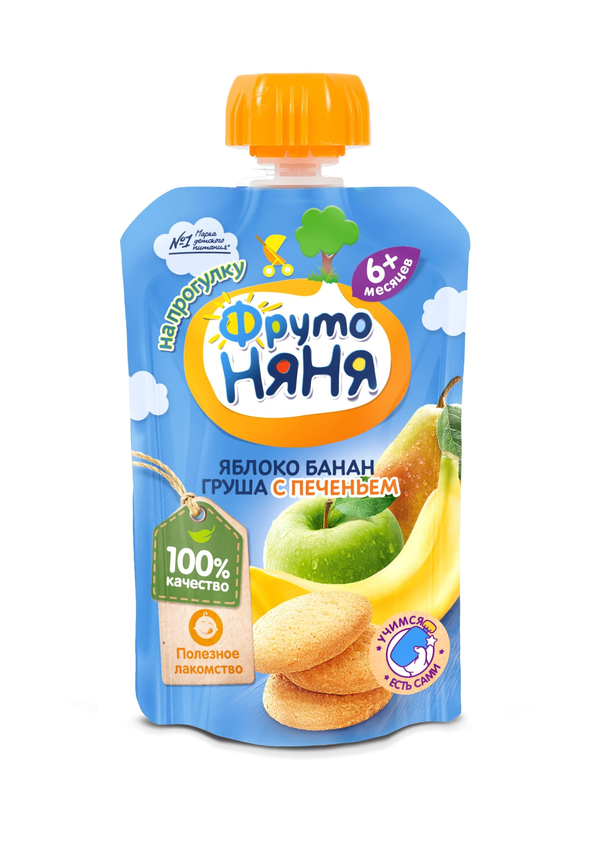 Фруто Няня Пюре яблоко/банан и груша с печеньем ФрутоНяня пюре фрутоняня organic груша с 4 мес 80 г фрутоняня