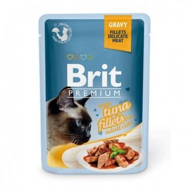 Brit Кусочки из филе тунца в соусе премиум для кошек пауч