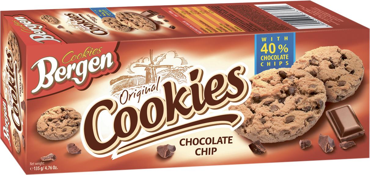 Фото - БЕЗ БРЭНДА Печенье шоколадное с кусочками шоколада Bergen печенье bergen original cookies