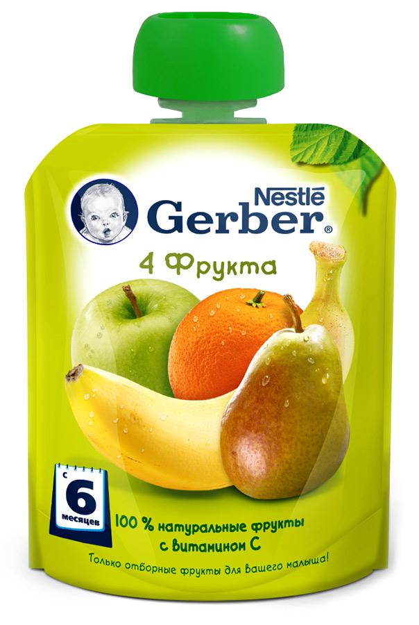 Гербер Пюре фруктовое 4 фрукта Gerber