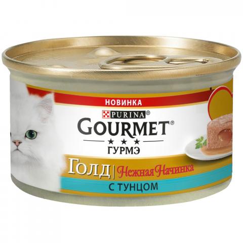 Gourmet Корм консервированный для кошек Нежная Начинка Тунец Gourmet Gold корм для кошек landor тунец