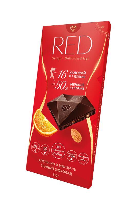 Шоколад темный с апельсином и миндалем без сахара на 50% меньше калорий 100 г RED