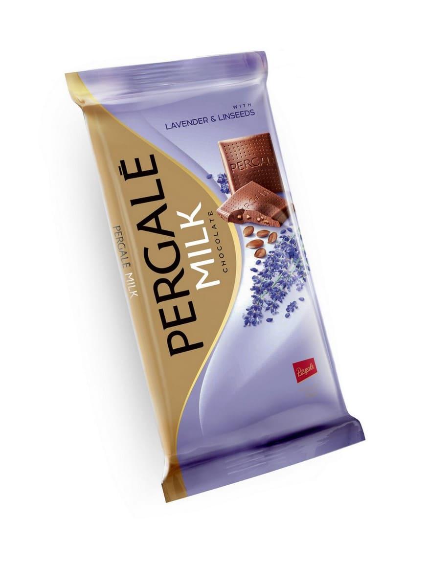 Шоколад Молочный с лавандой и льняным семенем PERGALE