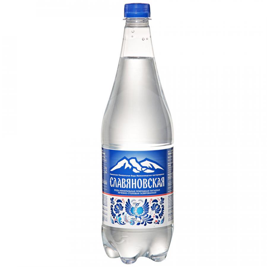 Вода минеральная газированная 1л Славяновская