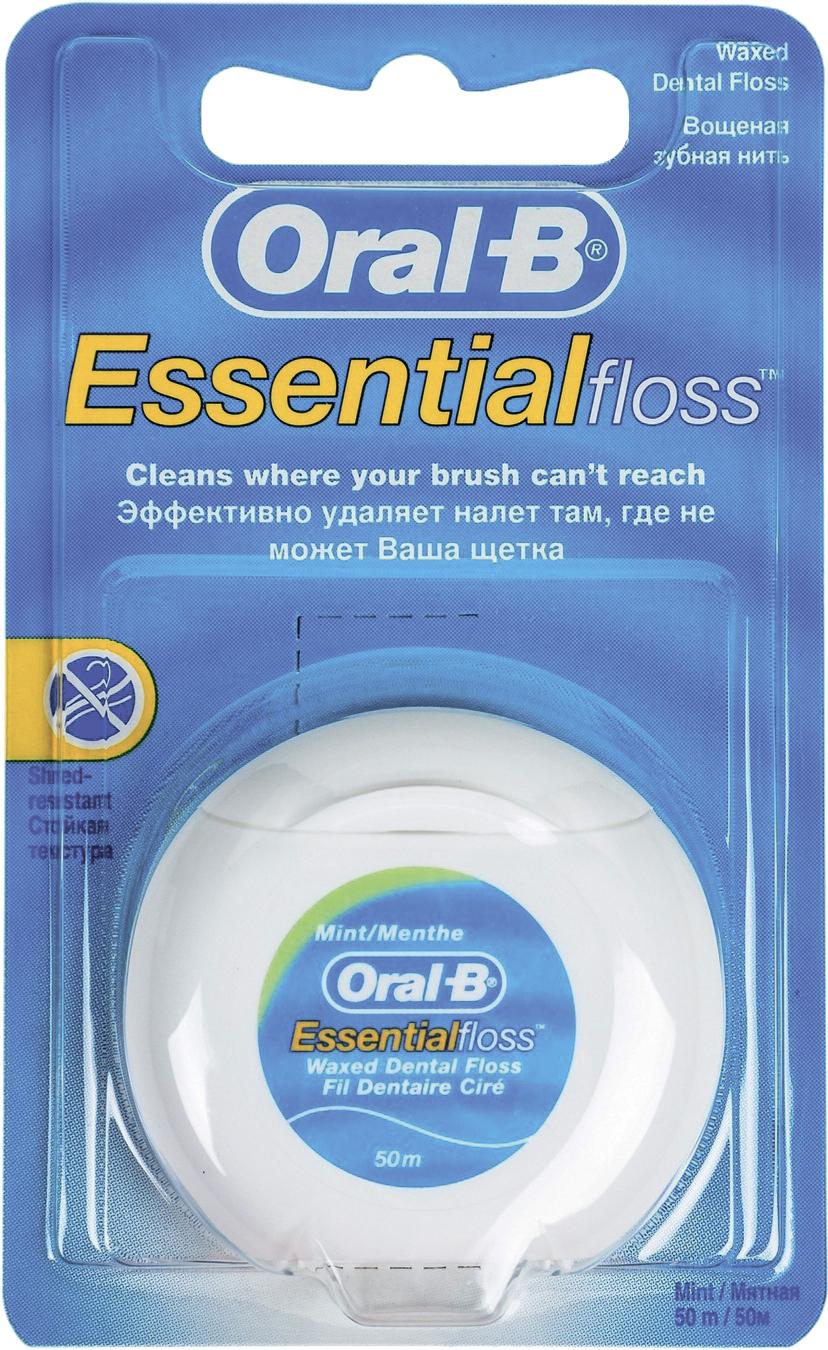 Фото - БЕЗ БРЭНДА Нить зубная Essential floss мятная OralB dentalpik зубная нить мятная вощеная