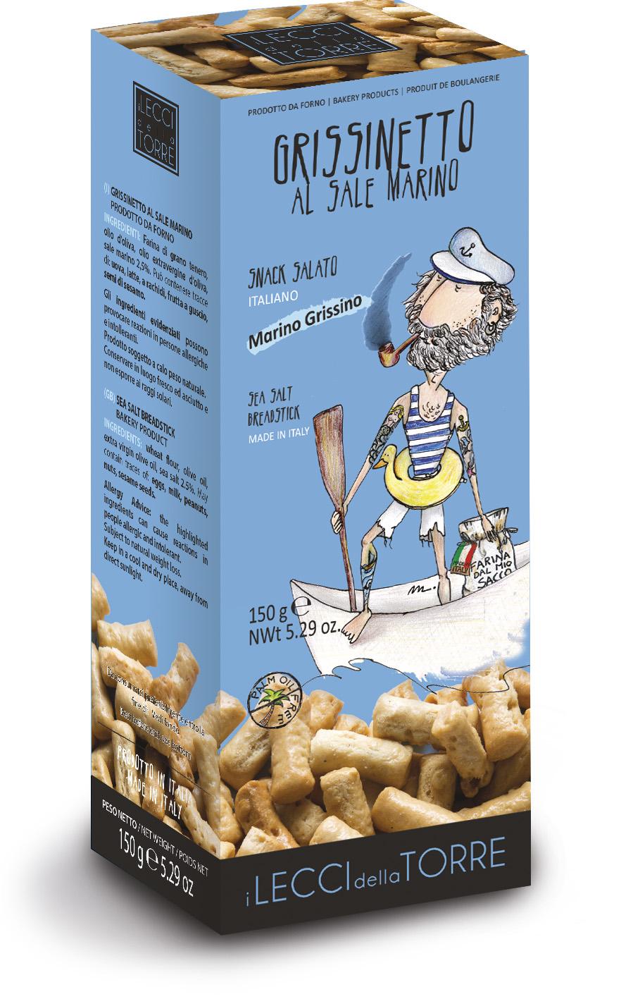 Хлебные палочки с морской солью Marino Grissino I LECCI DELLA TORRE
