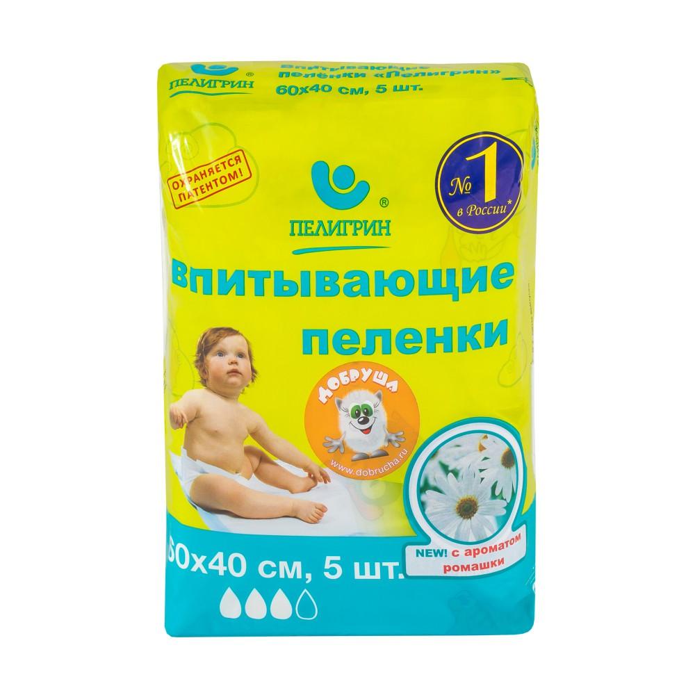 Пеленки впитывающие c ароматом ромашки 60х40см 5 шт Пелигрин.
