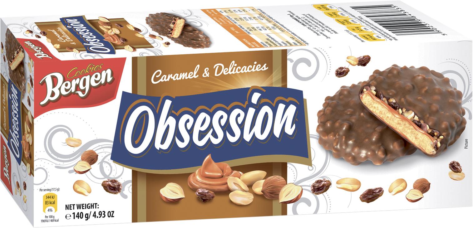 Фото - БЕЗ БРЭНДА Печенье сухофрукты/карамель/орехи в молочном шоколаде Bergen печенье bergen original cookies
