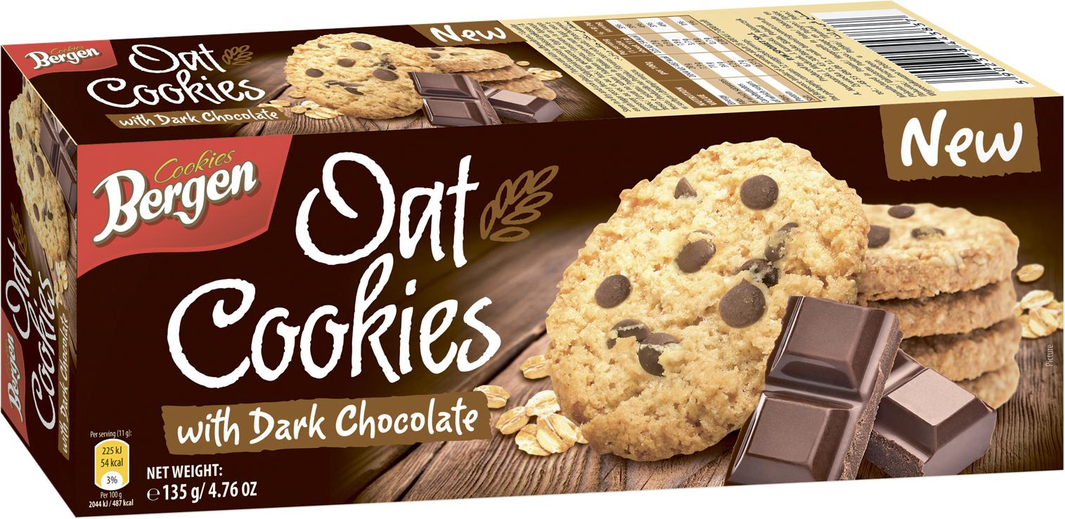 Фото - БЕЗ БРЭНДА Печенье овсяное с кусочками темного шоколада Bergen печенье bergen original cookies