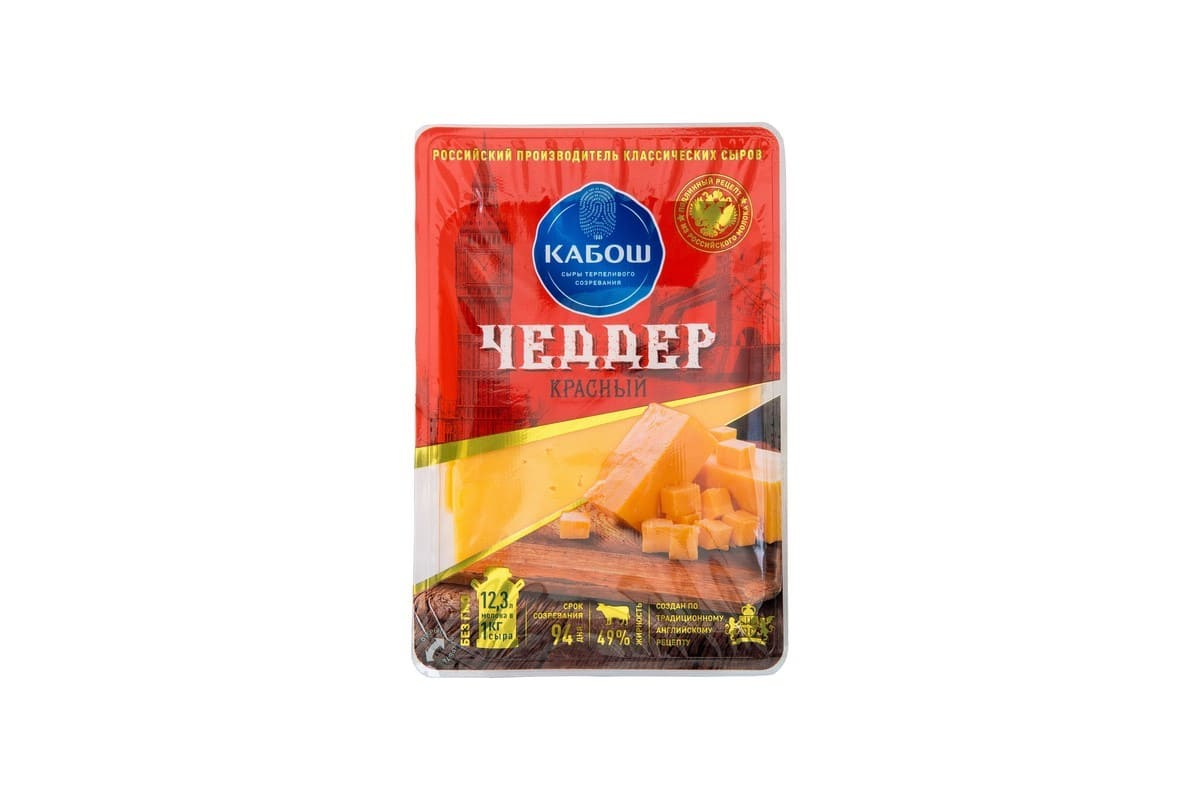 Фото - Кабош БЗМЖ Сыр Чеддер 49% нарезка Кабош сыр твердый кабош чеддер красный 49% 200 г
