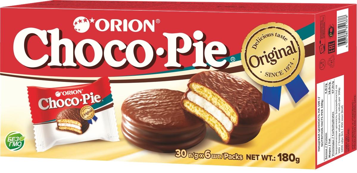 Бисквит с шок. глаз. Choco-Pie 180г кор. Orion