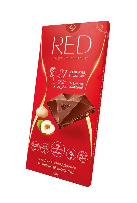 Молочный шоколад фундук и макадамия без сахара на 35% меньше калорий 100 г RED