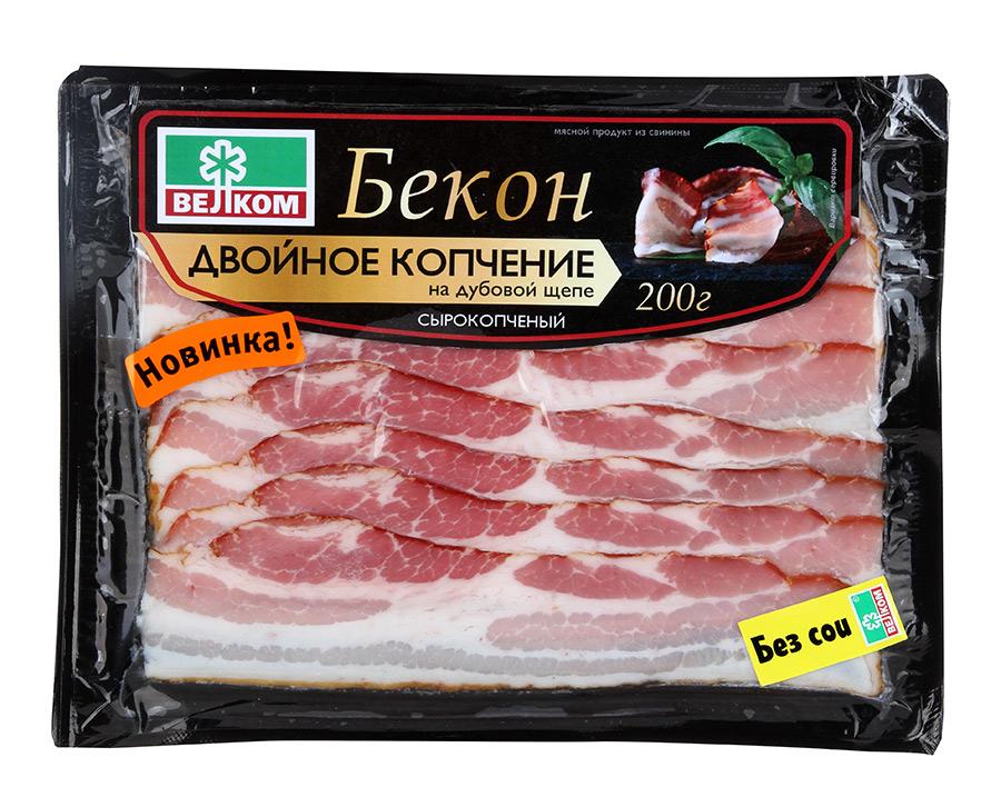 Велком Бекон свиной Двойное копчение с/к Велком