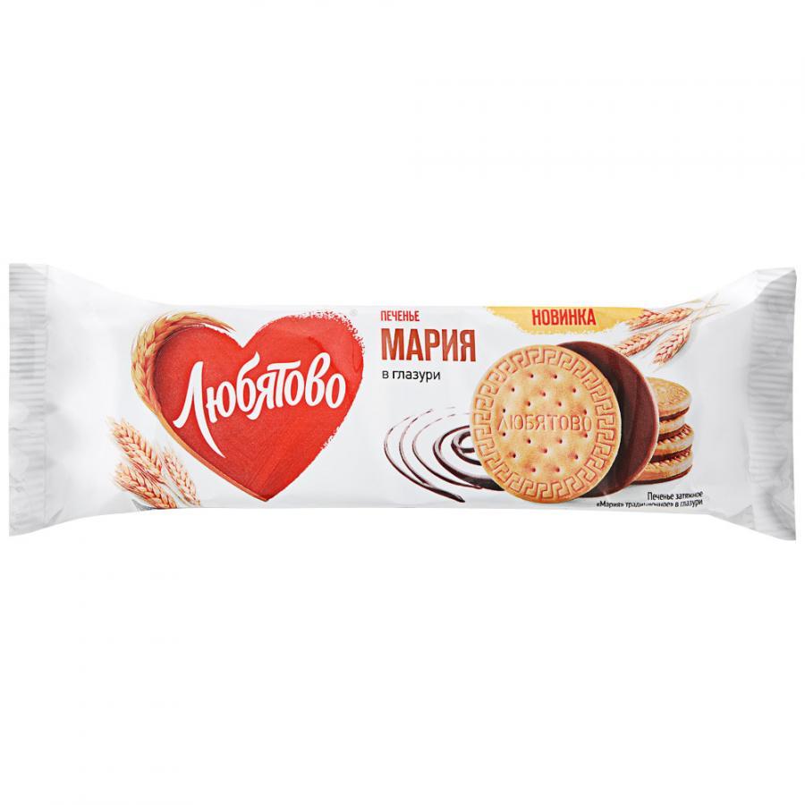 Печенье затяжное Любятово Мария в шоколадной глазури, 138 г