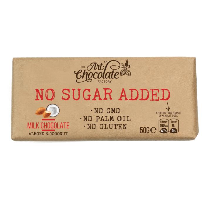 Молочный шоколад без добавления сахара с миндалем и кокосом  50г Elegant