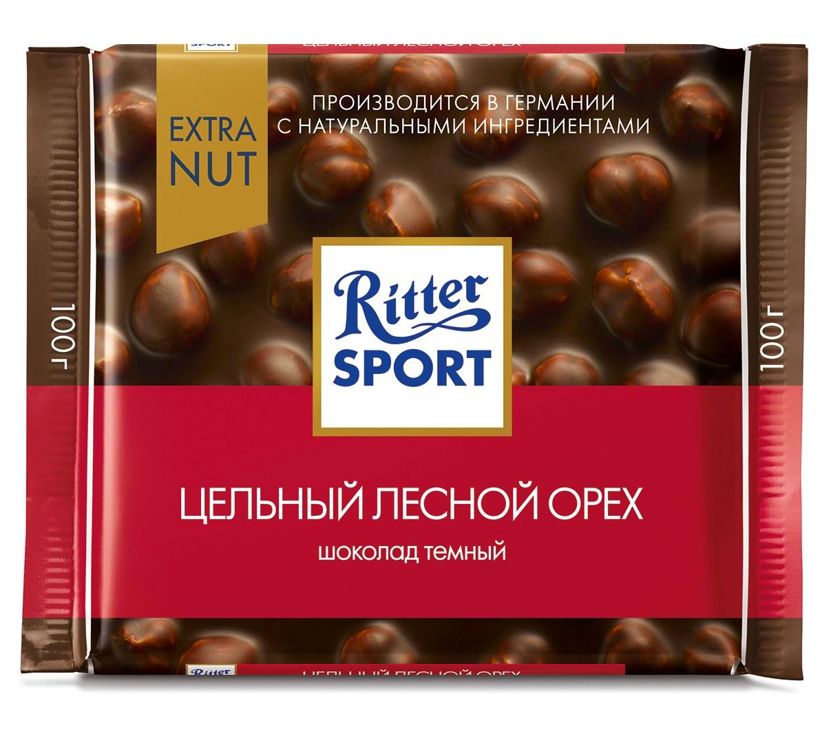 Шоколад горькийс цельным лесным орехом Extra Ritter Sport