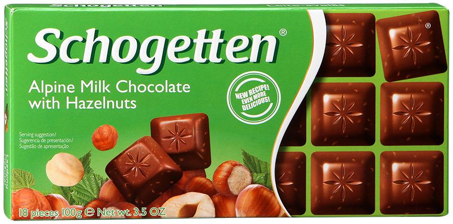 Шоколад молочный Альпы с лесными орехами Schogetten
