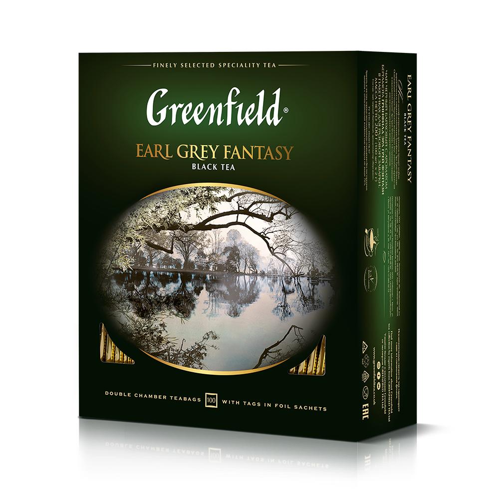 Гринфилд Чай черный Эрл Грей Фентези 100 пакетиков Greenfield