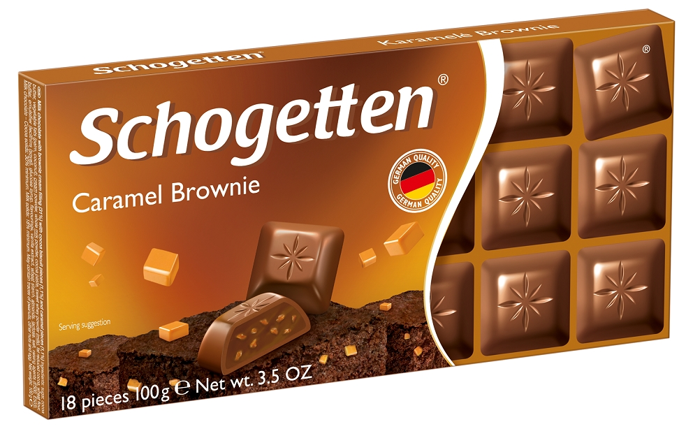 Шоколад CARAMEL BROWNIE молочный с начинкой шоколад крем брауни SCHOGETTEN