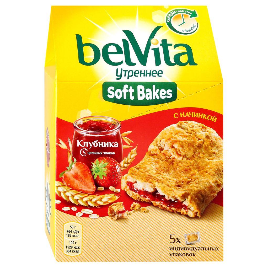 Печенье Софт Бэйкс с цельнозерновыми злаками с клубничной начинкой 250г Belvita