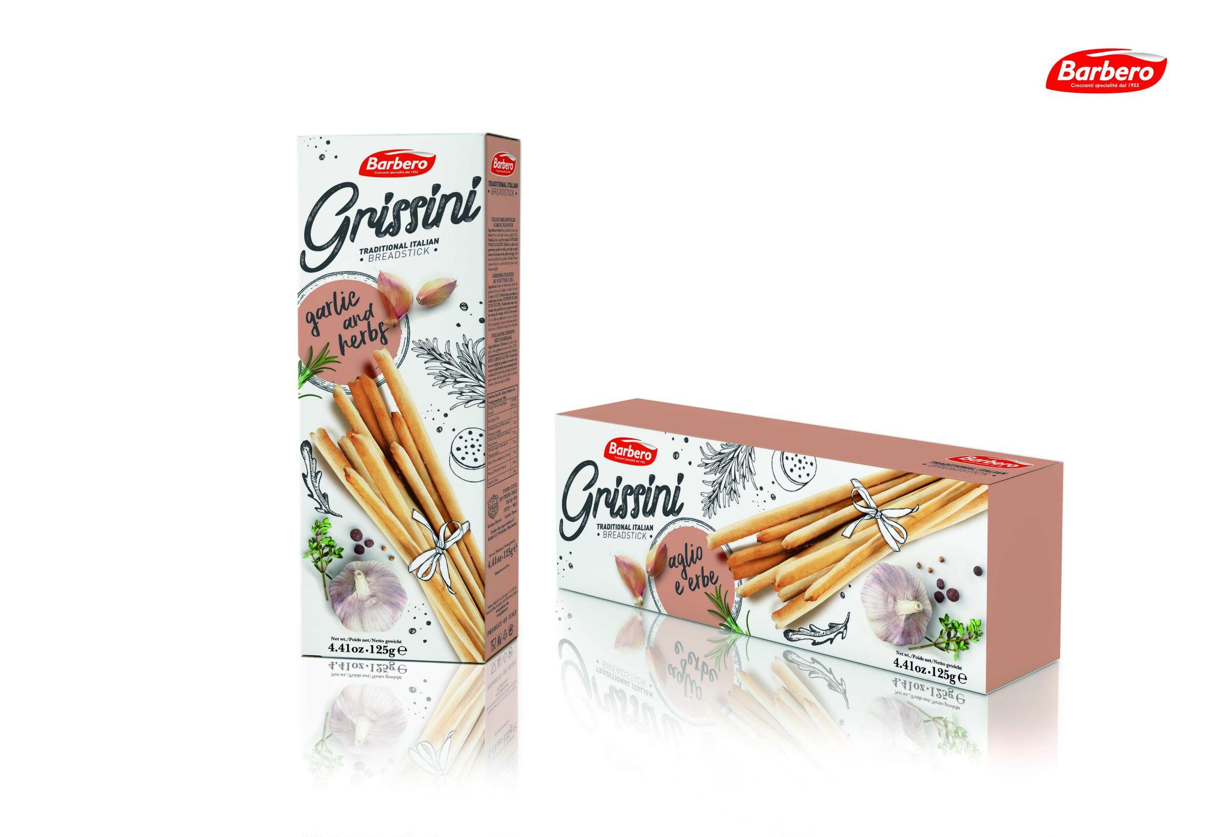 Палочки хлебные Гриссини с чесноком и травами Barbero