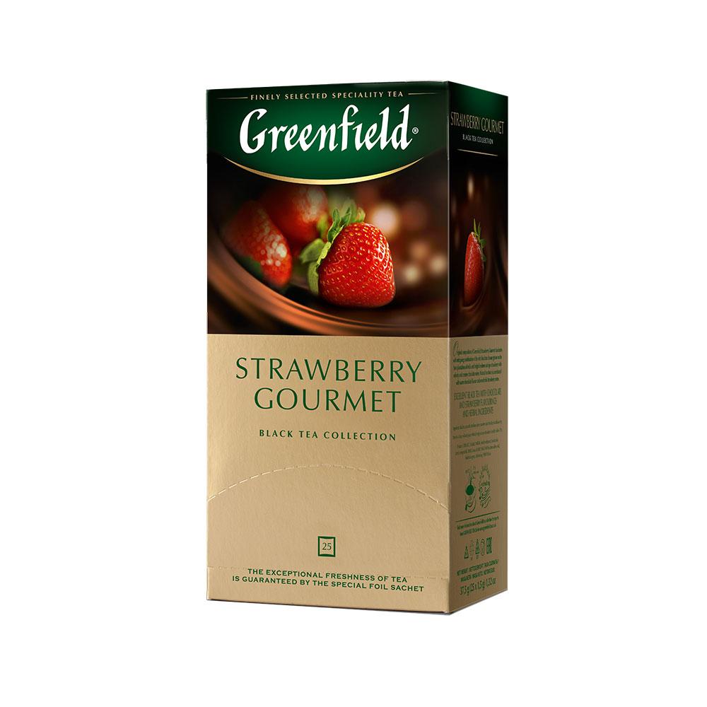 Фото - Гринфилд Чай черный с добавками Строуберри Гурмэ 25 пакетиков Greenfield чай майский лесные ягоды черный с добавками 25 пакетиков