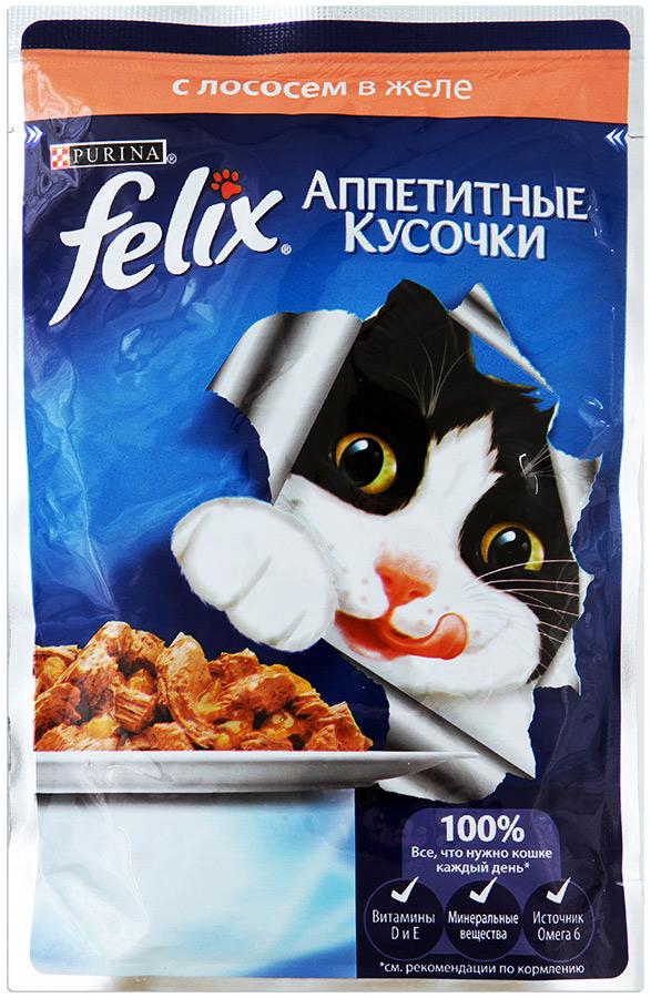 Felix Корм для кошек лосось в желе Felix felix корм для кошек сенсейшнс говядина в желе с томатами felix