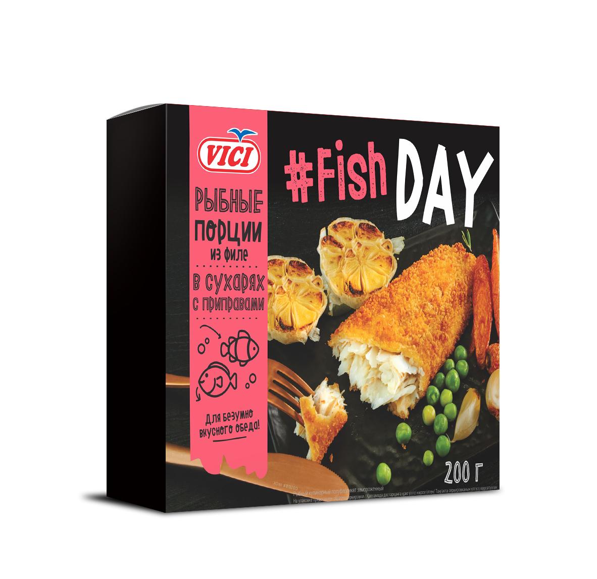 Рыбные порции из филе в сухарях с приправами Fish DAY'