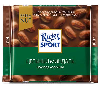 Фото - Риттер Спорт Шоколад молочный с цельным миндалем Extra Ritter Sport шоколад ritter sport молочный карамельный мусс с миндалем 100 г