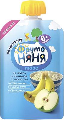 Фруто Няня Пюре яблоко/банан/творог/сахар ФрутоНяня