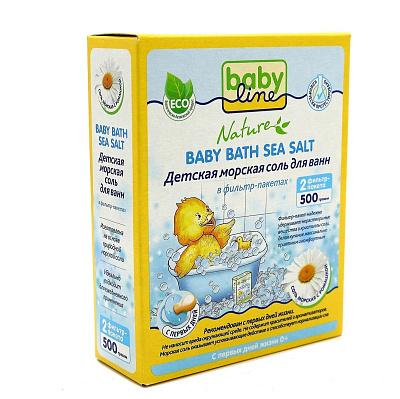 Бебилайн Соль морская для ванн детская ромашка NATURE Babyline недорого