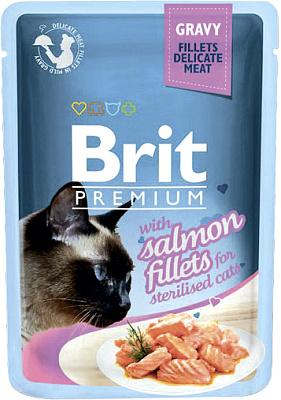 Brit Корм для кошек Jelly Salmon fillets кусочки из филе лосося в желе пауч Brit
