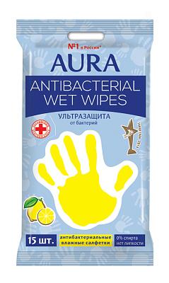 Фото - Аура Салфетки влажные антибактериальные лимон/ромашка 15 шт AURA салфетки влажные aura антибактериальные 20 шт