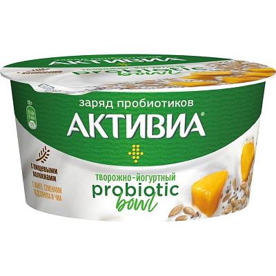 активиа биопродукт творожно йогуртный 4 5% 130 г Активиа Продукт творожно-йогуртный Probiotic Bowl с манго семенами подсолнуха и чиа 3.5% 135 г Активиа