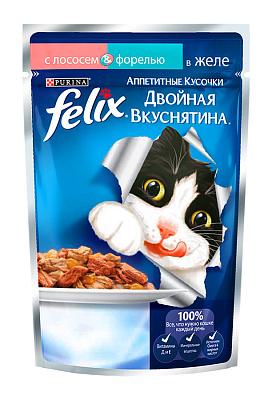 Felix Консервы для кошек Двойной вкус лосось/форель Felix felix